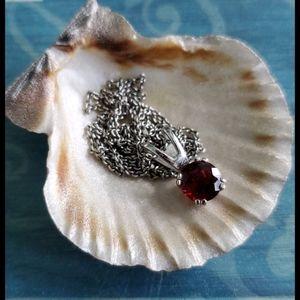 SS January Birthstone Garnet Pendant Necklace